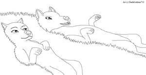Anime Wolf Stargazing LineArt by DarthGoldstar710