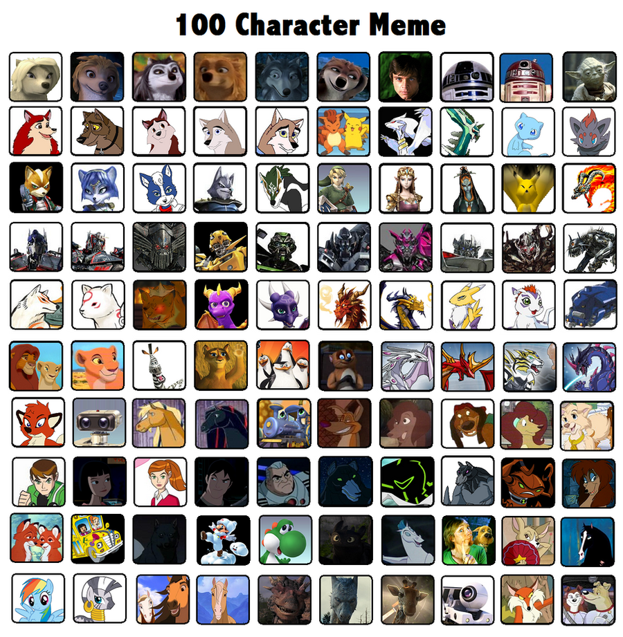 Cartoon Characters 2 100 Pics : Character meme example by darthgoldstar on deviantart