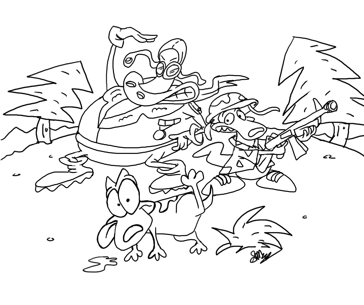 rockos modern life coloring pages - photo#15