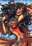 ACEO-Crimson Mermaid