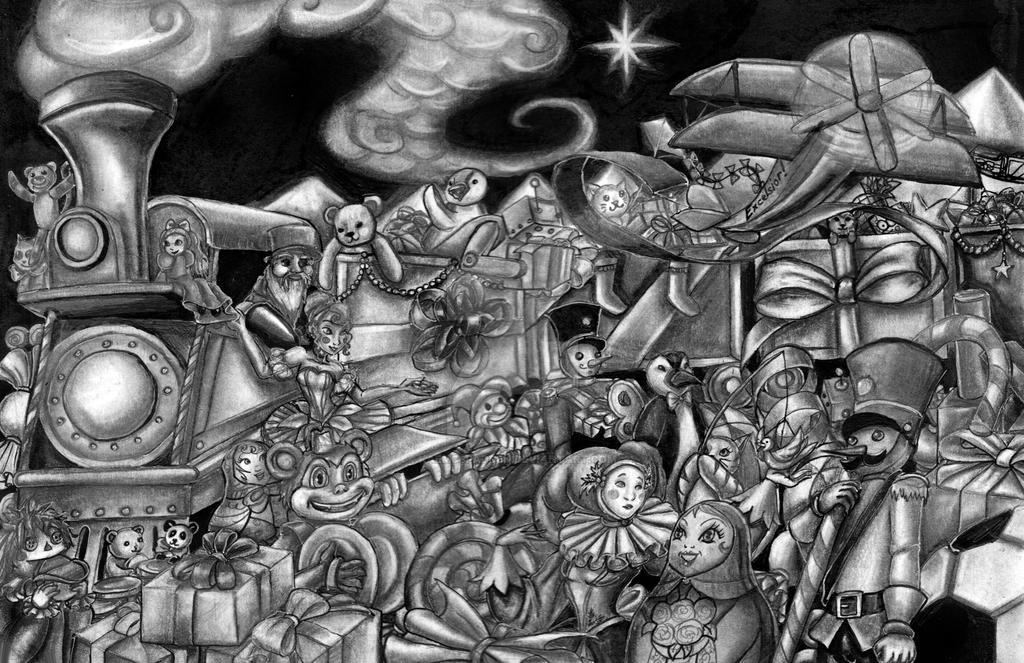Christmas Train Of Toys Black And White By Kaemcspadden On Deviantart