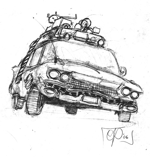 Ghostbuster car coloring pages ~ 1 Ecto Ghostbusters Car Coloring Pages Sketch Coloring Page
