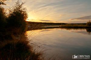 sunset at lake by BenThijs