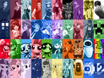 Character Collage iPad Wallpaper