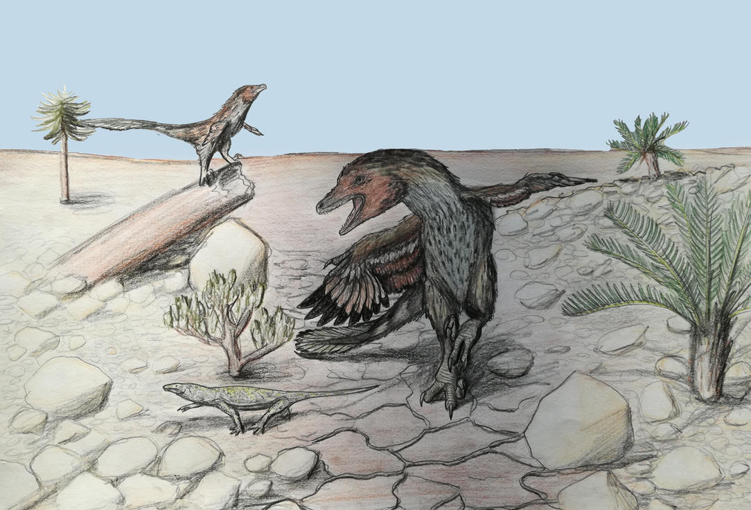 Velociraptor hunting by Qbliviens
