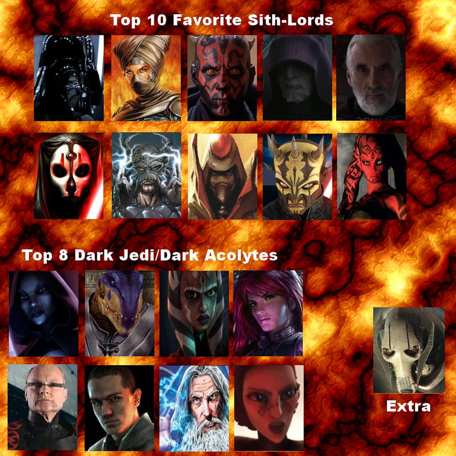 Top 10 Sith-Lords Meme + Dark Jedi My Version by DarthVaderXSnips