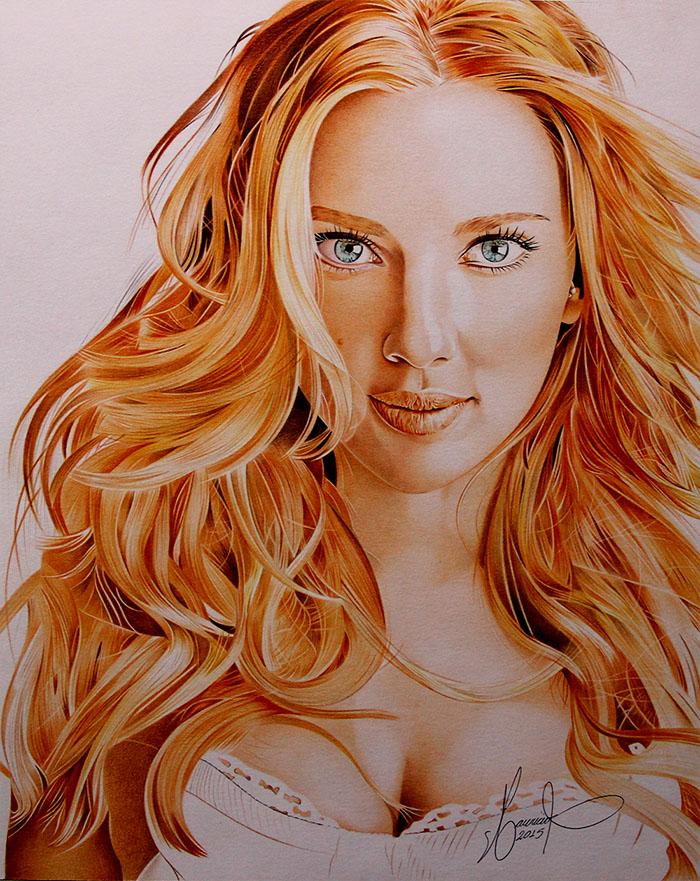 COLORED PENCILS - Scarlett Johansso by MAUZIS