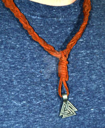 Valknut Leather Necklace-detail front
