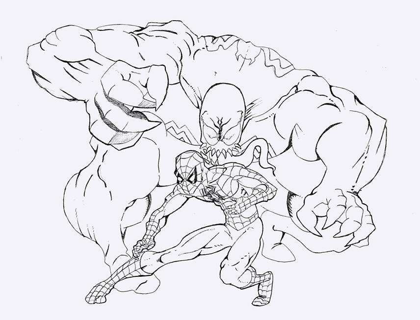 Dibujo Spiderman Vs Venom | Pelauts.Com