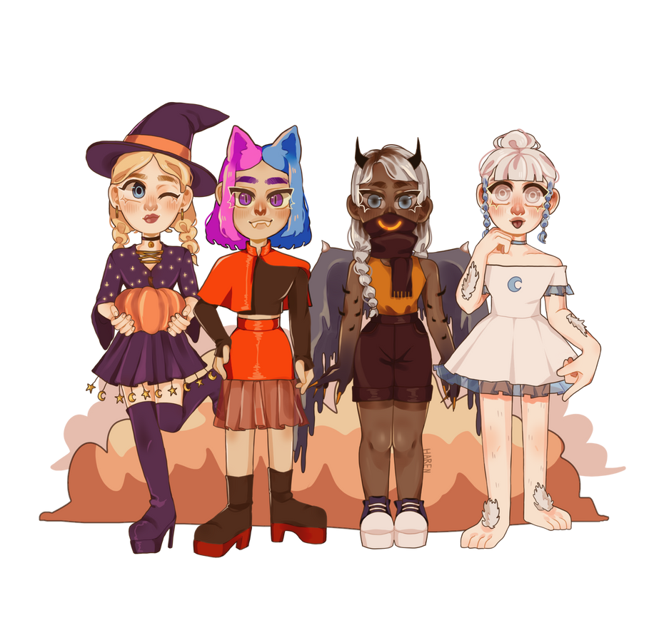 main ocs with halloween costumes and noses by laharen