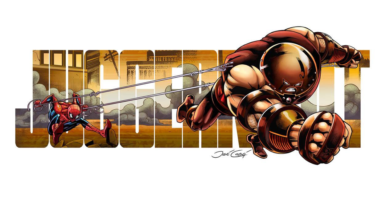 Spiderman VS Juggernaut by VdVector
