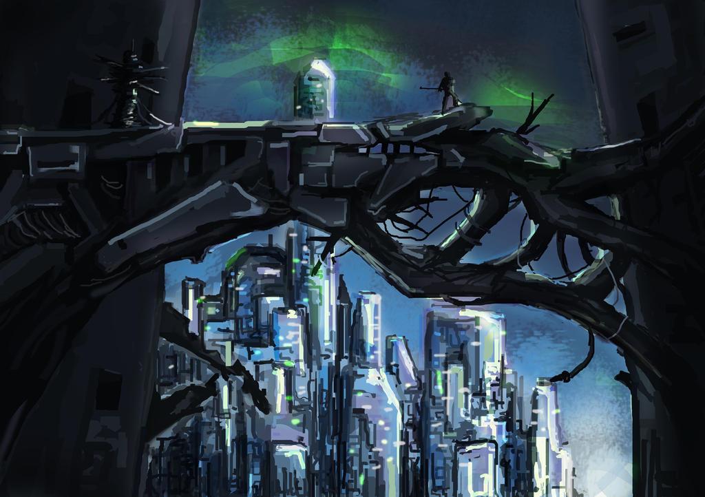 concept art: sci-fi city by Xedrandon