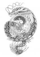 Dragon with Koi by Aerin-Kayne