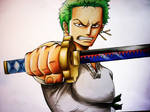 Zoro from One Piece - coloured pencil drawing