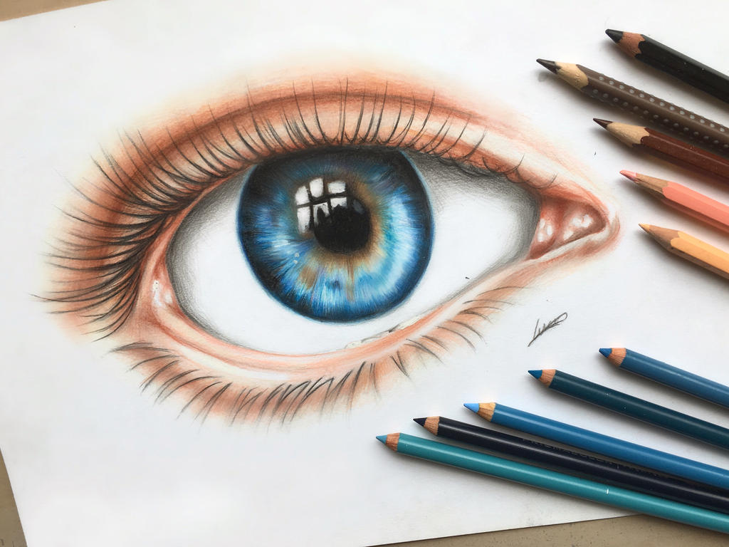 An eye colored pencil drawing by polaara on deviantart