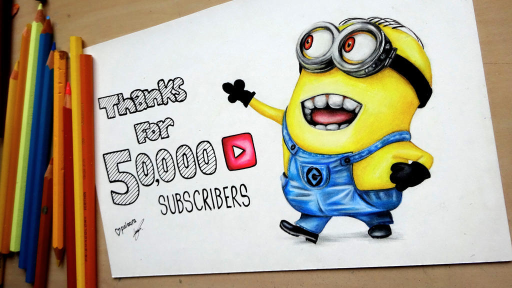 Thanks for 50000! Minion drawing Despicable Me