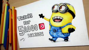 Thanks for 50000! Minion drawing Despicable Me by Polaara