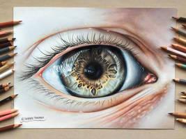Realistic Eye Drawing by Polaara