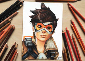 Tracer from Overwatch - Coloured pencil drawing