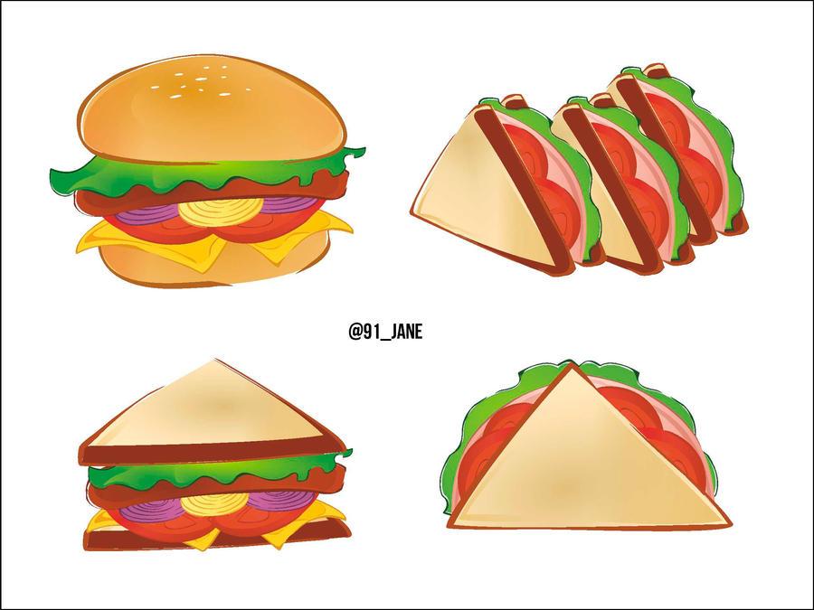 Hamburger and Sandwich by 91Jane