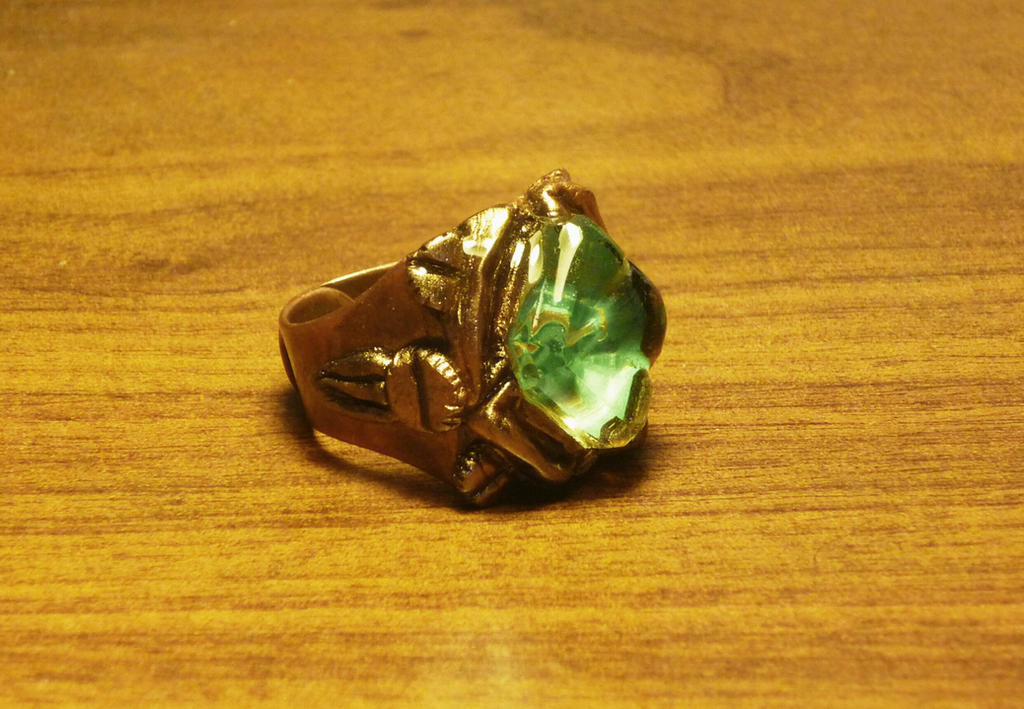 Dwemer scrap metal ring with glass by Babonga