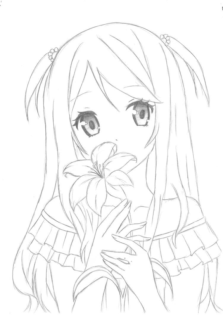 Anime Girl Flower By Vocaloid13a On Deviantart
