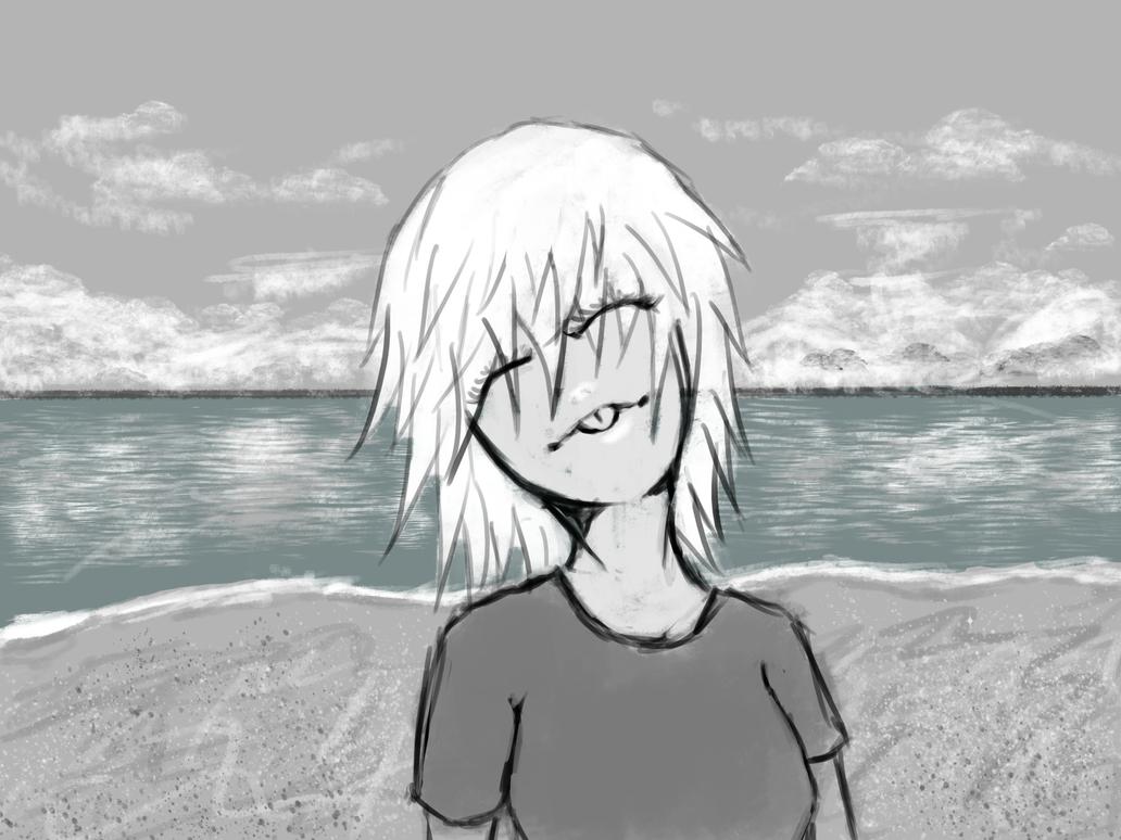 Girl on the beach by desertpunk12