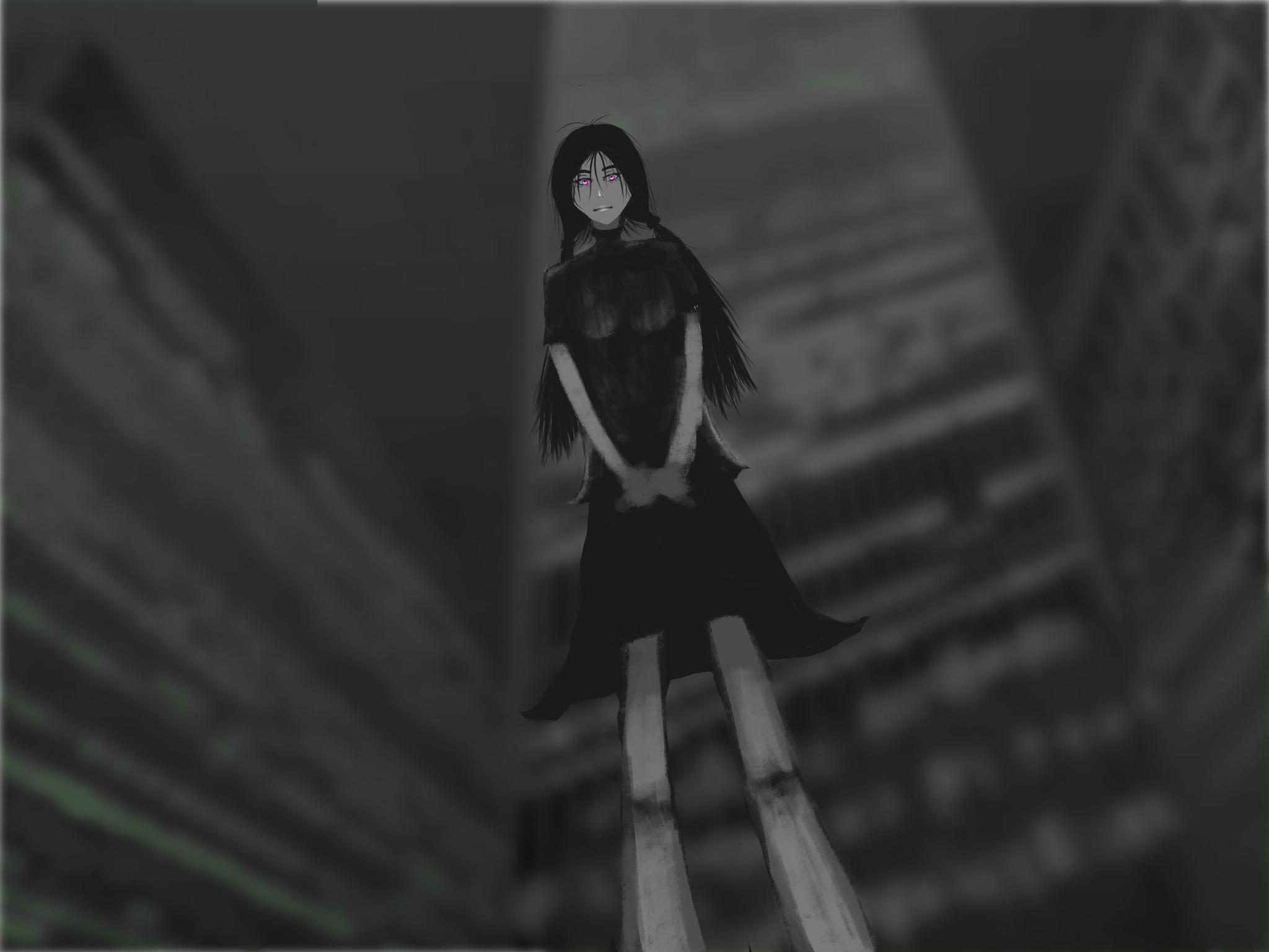 WIP Girl Looking Down by desertpunk12