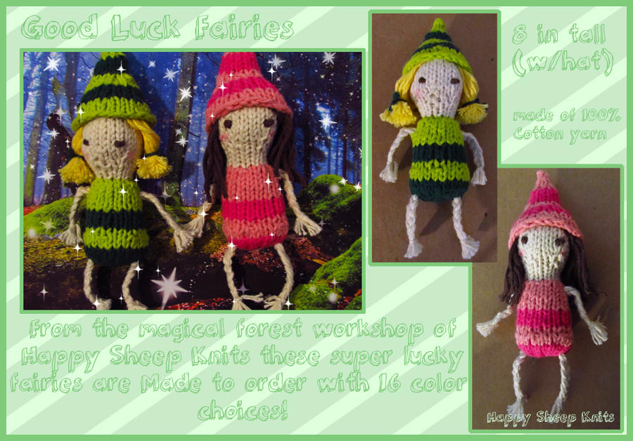 Good luck Fairies Hand knitted made to order by