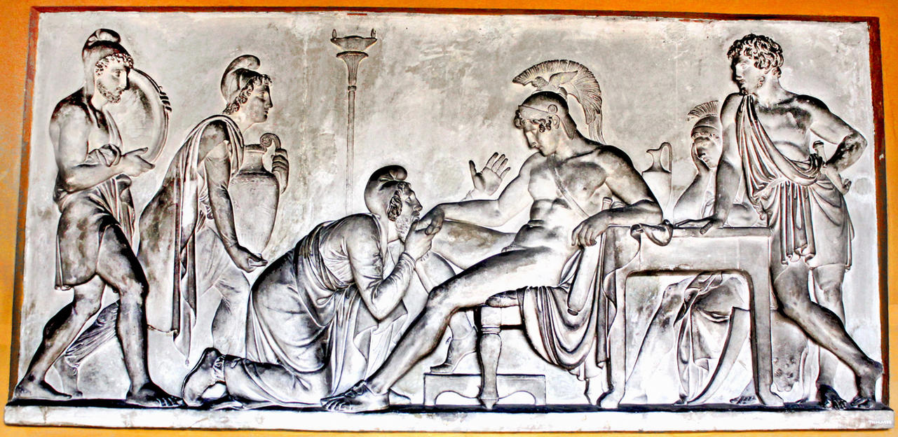 Priam Pleads with Achilles for Hector's Body by phlufii