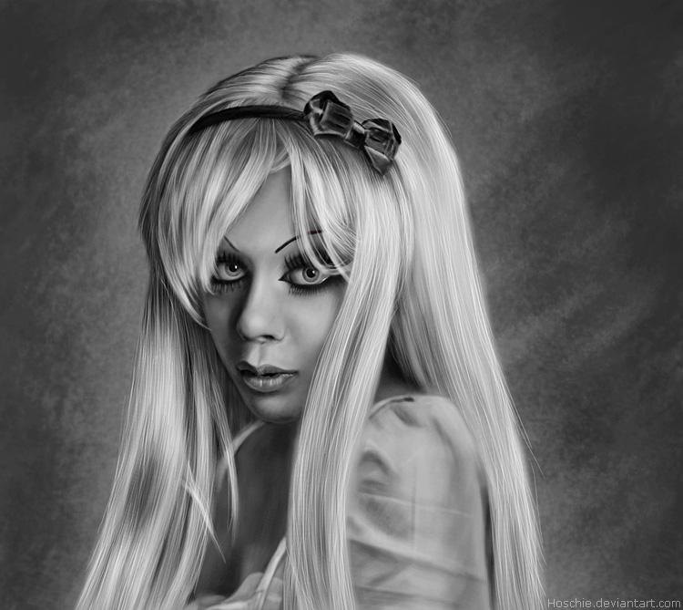 Ophelia portrait digipaint BW by hoschie