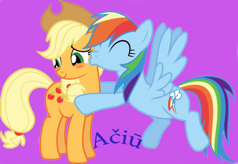 Rainbow Dash kiss Applejack by poni45 on DeviantArt  Applejack