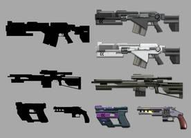 Sci-fi Gun concepts by ColdDegree