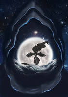 Luna raises the moon under a shadow by Crimshak