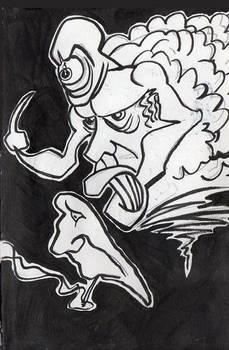 'Masked Smoke Demon' from '98 ink/brushsketchbook