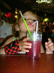 Beckis and her drink