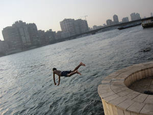 falling down into the nile