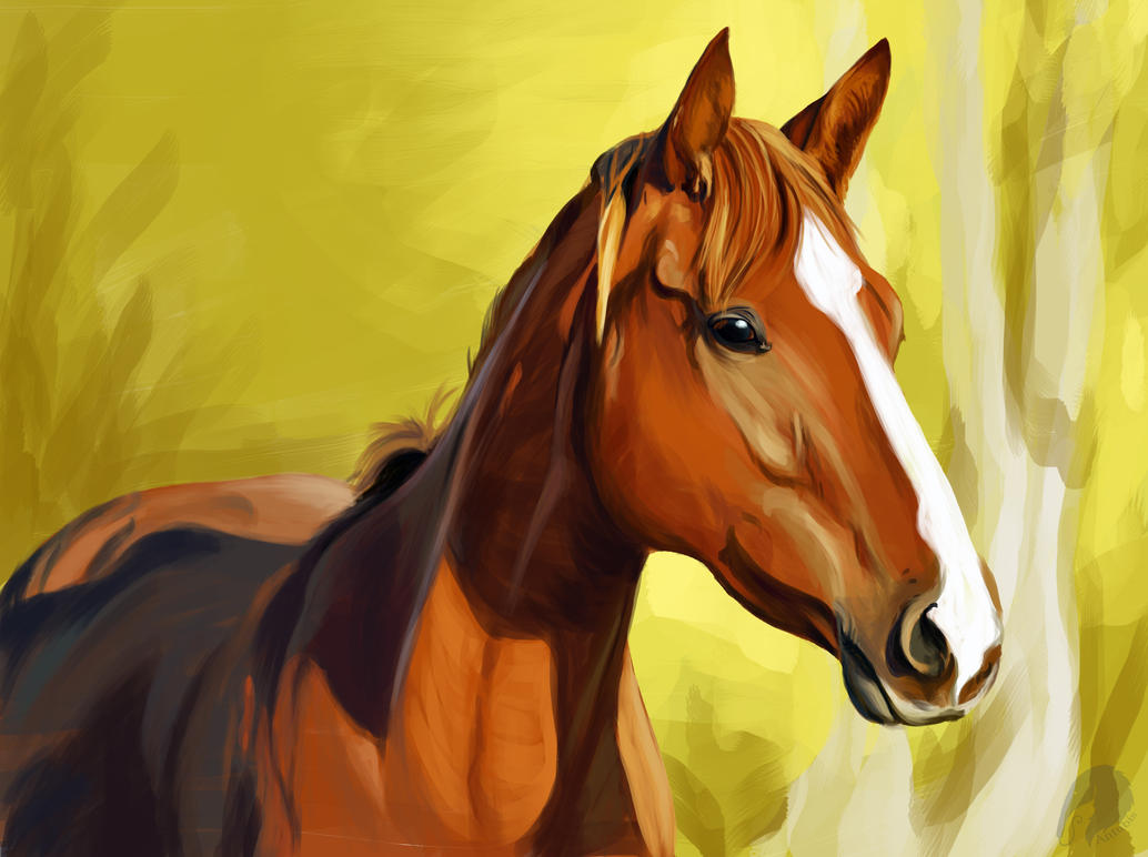 Black And Gold Horse Painting