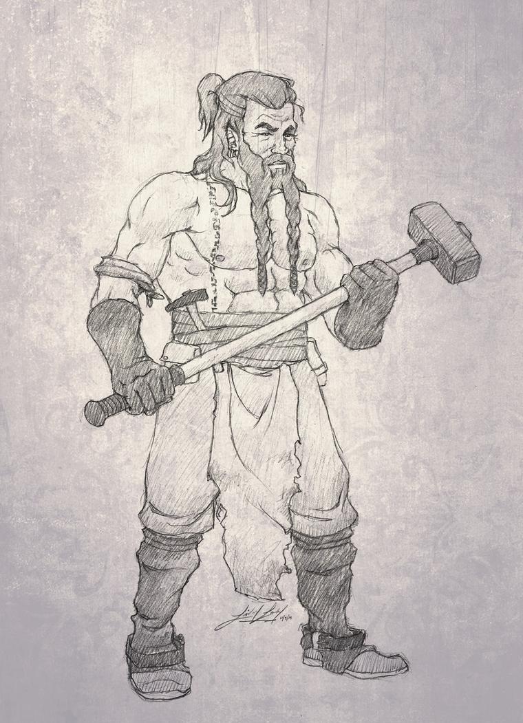 Bearded Dwarf Blacksmith Guy Man by friedChicken365
