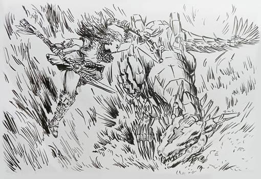 Sketch of Aloy vs Clawstrider Horizon Forbidden We
