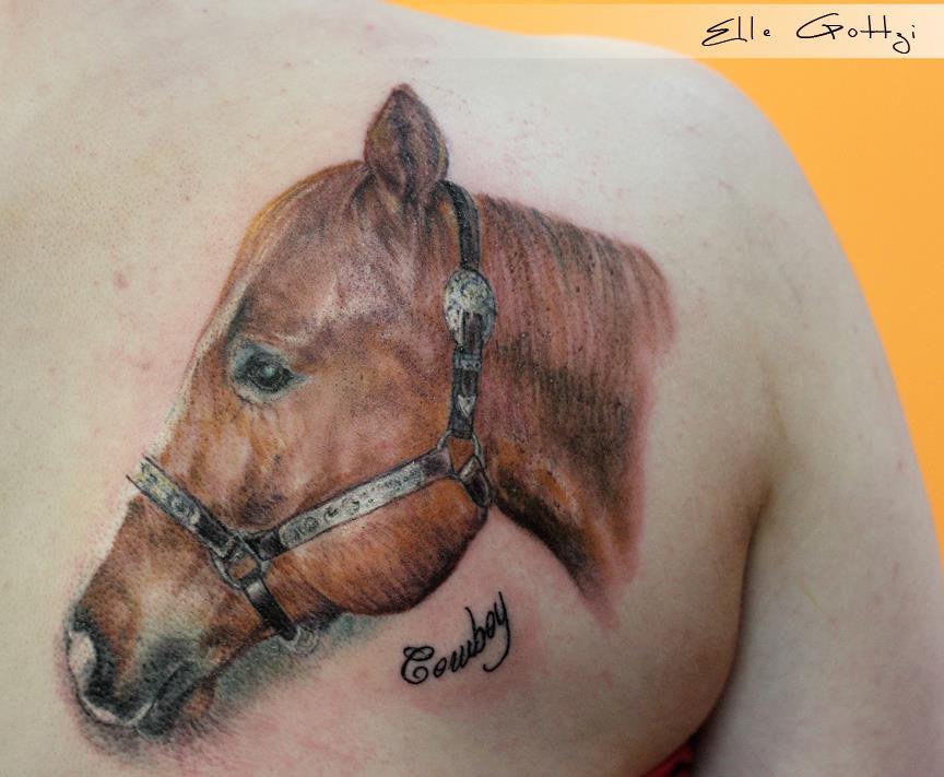 realistic horse tattoo by ellegottzi on deviantart. Black Bedroom Furniture Sets. Home Design Ideas