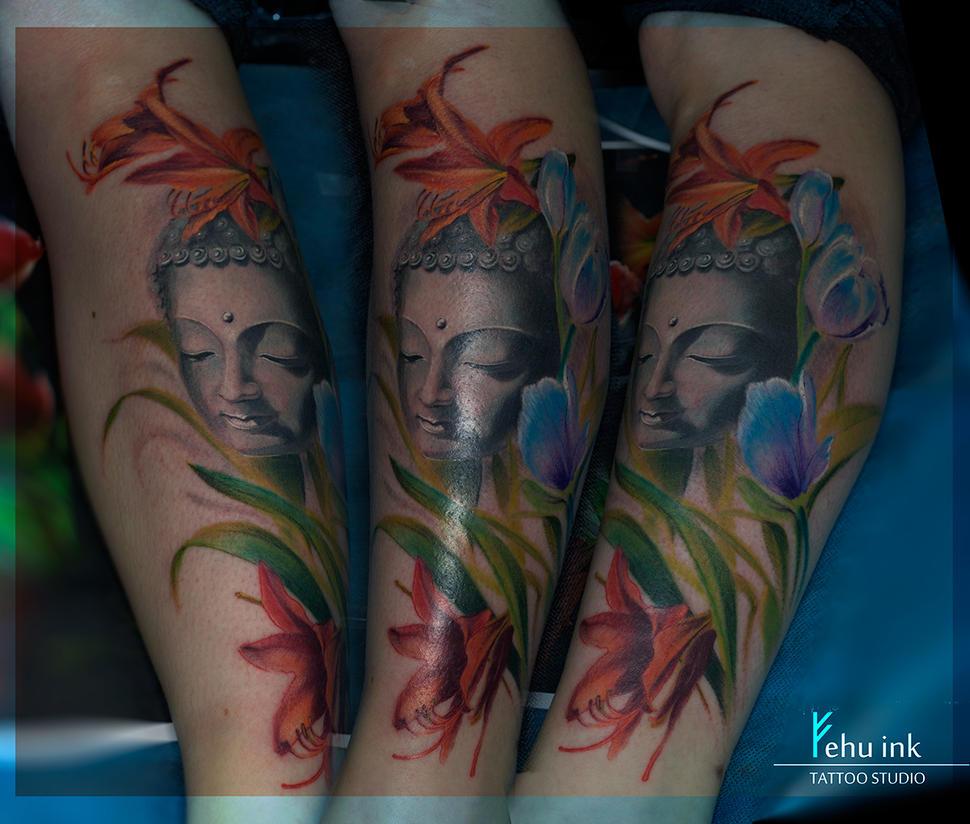 Buddha With Flowers Tattoo By Ellegottzi On Deviantart