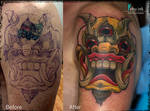 Tibetian mask tattoo (cover up)