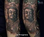 buddha tattoo in progress