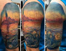 Van Gogh meets Monet tattoo