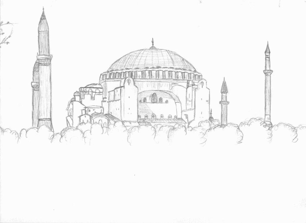 How to draw hagia sophia