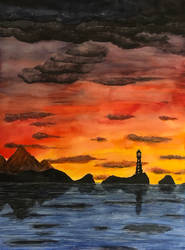 Lighthouse in fire