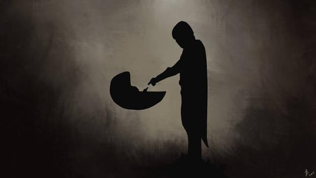 Mando and Grogu silhouette   The Mandalorian