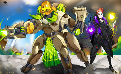 Commission - Orisa and Moira by ichimoral