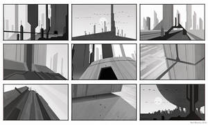 Monolithic Buildings Silhouette Sketch by ArtOfSoulburn